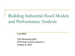 Building Industrial-Sized Models and Performance Analysis