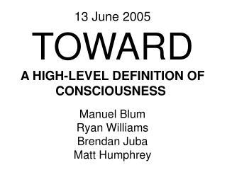 Manuel Blum Ryan Williams Brendan Juba Matt Humphrey