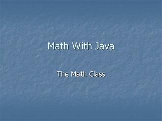 Math With Java