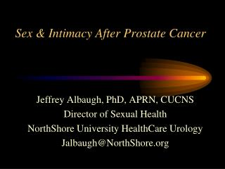 Sex & Intimacy After Prostate Cancer