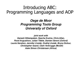 Introducing ABC: Programming Languages and AOP