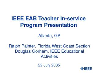 IEEE EAB Teacher In-service Program Presentation