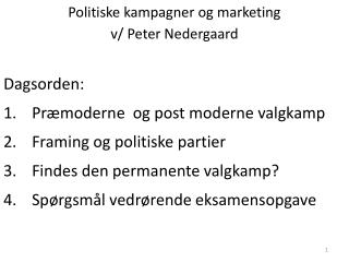 Politiske kampagner og marketing  v/ Peter Nedergaard