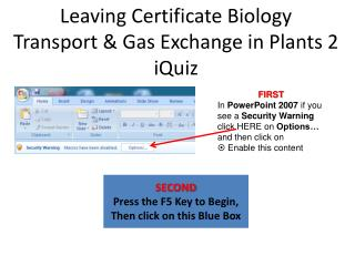 Leaving Certificate Biology Transport & Gas Exchange in Plants 2 iQuiz