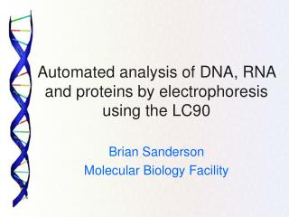 Automated analysis of DNA, RNA and proteins by electrophoresis using the LC90