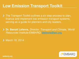 Low Emission Transport Toolkit
