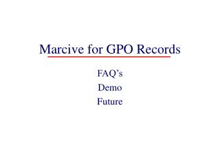 Marcive for GPO Records