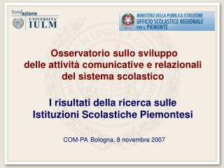 Osservatorio sullo sviluppo delle attività comunicative e relazionali del sistema scolastico