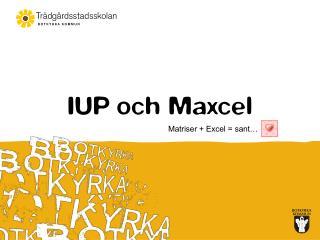 IUP och Maxcel