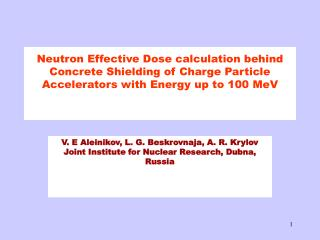 Neutron Effective Dose calculation behind Concrete Shielding of Charge Particle Accelerators with Energy up to 100 MeV