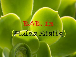 BAB. 13  ( Fluida Statik )
