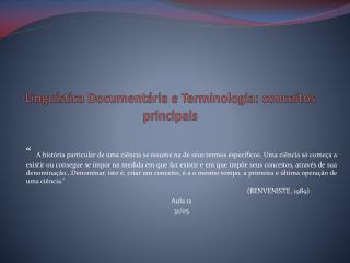 Linguística Documentária e Terminologia: conceitos principais