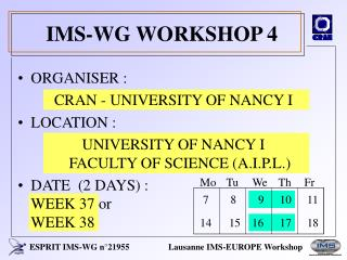 IMS-WG WORKSHOP 4