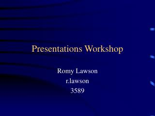Presentations Workshop