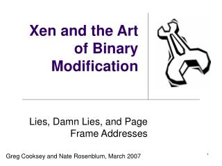 Xen and the Art of Binary Modification