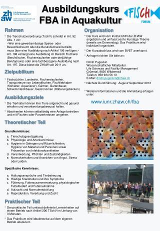 Ausbildungskurs  FBA in Aquakultur