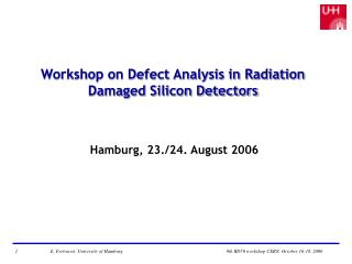 Workshop on Defect Analysis in Radiation Damaged Silicon Detectors