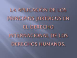 LA APLICACIÓN DE LOS PRINCIPIOS JURÍDICOS EN EL DERECHO INTERNACIONAL DE LOS DERECHOS HUMANOS.