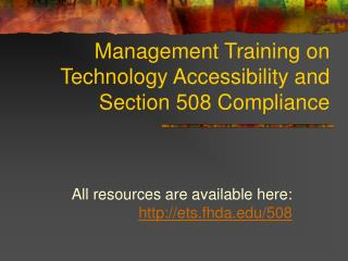 Management Training on Technology Accessibility and Section 508 Compliance
