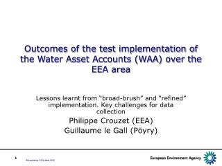 Outcomes of the test implementation of  the Water Asset Accounts (WAA) over the EEA area