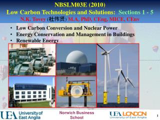 Low Carbon Conversion and Nuclear Power    Energy Conservation and Management in Buildings