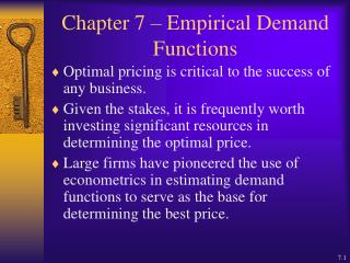 Chapter 7   Empirical Demand Functions