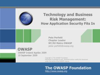 Technology and Business  Risk Management: How Application Security Fits In