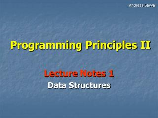 Programming Principles II