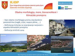 Obalna morfologija, more, bioraznolikost i klimatske promjene