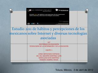 IUIT DOCTORADO EN EDUCACIÓN TECNOLOGÍAS DE LA INFORMACIÓN Y DE LA EDUCACIÓN EQUIPO 1