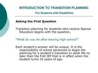 INTRODUCTION TO TRANSITION PLANNING For Students with Disabilities