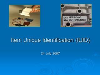 Item Unique Identification (IUID)