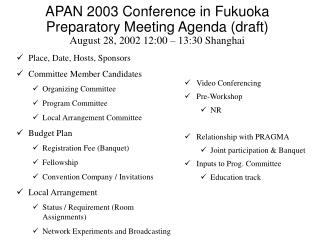 Place, Date, Hosts, Sponsors Committee Member Candidates Organizing Committee Program Committee