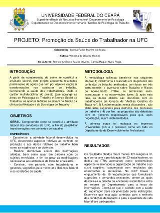 UNIVERSIDADE FEDERAL DO CEARÁ Superintendência de Recursos Humanos/  Departamento de Psicologia