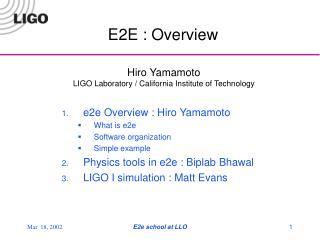 E2E : Overview