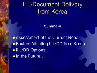 ILL/Document Delivery  from Korea