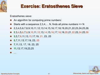 Exercise: Eratosthenes Sieve