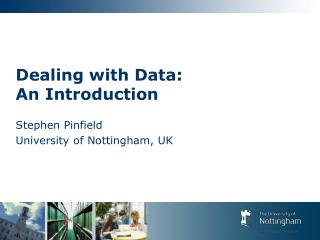 Dealing with Data:  An Introduction