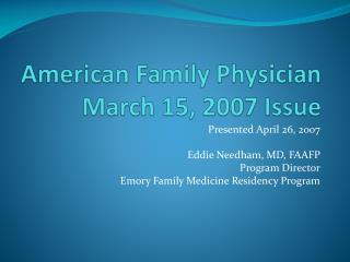 American Family Physician March 15, 2007 Issue