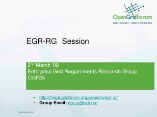 EGR-RG Session
