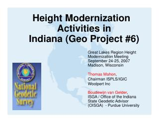 Height Modernization Activities in  Indiana (Geo Project #6)