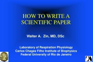 HOW TO WRITE A SCIENTIFIC PAPER