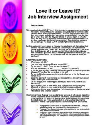 Love it or Leave it? Job Interview Assignment