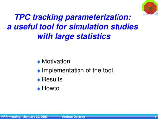 TPC tracking parameterization: a useful tool for simulation studies  with large statistics