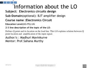 Information about the LO