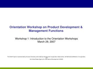 Orientation Workshop on Product Development & Management Functions