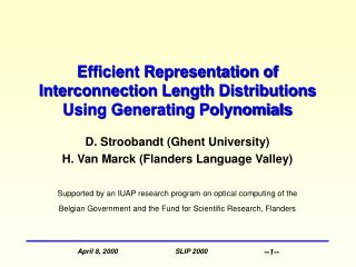 Efficient Representation of Interconnection Length Distributions Using Generating Polynomials
