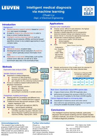 Intelligent medical diagnosis  via machine learning  Chuan Lu  Dept. of Electrical Engineering