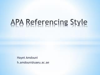 APA Referencing Style
