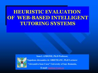 HEURISTIC EVALUATION  OF  WEB-BASED INTELLIGENT TUTORING SYSTEMS